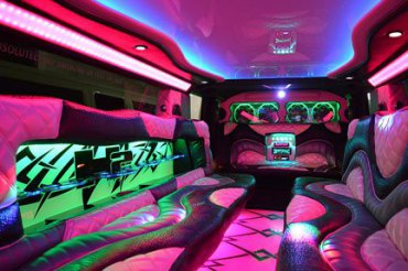 Mood lights galore in our H2 Hummer interior
